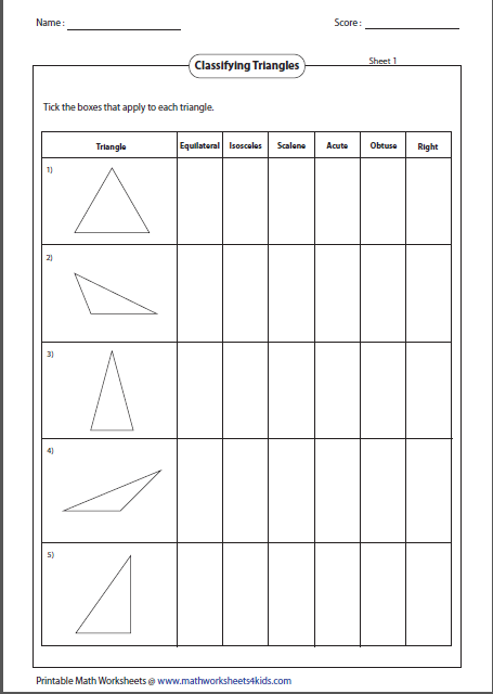 Classifying Triangles Triangle Worksheet, Classifying Triangles,  Worksheets