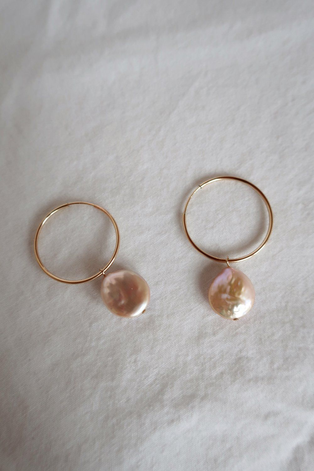 Peach Pearl Hoops in 2020 Pearls, Elephant necklace