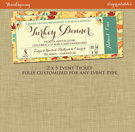 Fall Turkey Dinner Event Ticket Harvest By Sfmprintables On Etsy  Dinner Ticket Template