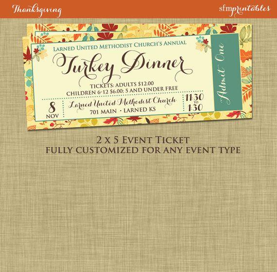Fall Turkey Dinner Event Ticket Harvest Thanksgiving Invitation - fundraiser invitation templates