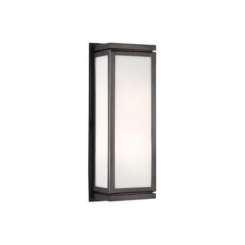 Small Bradley Wall Sconce by Robert Abbey. Available in bronze (shown), polished chrome, and polished nickel.
