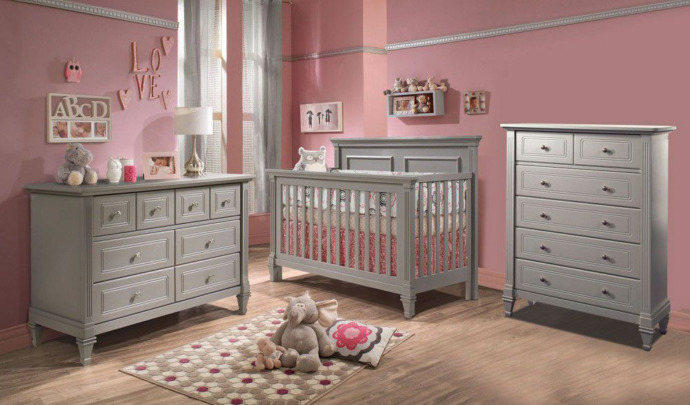 Natart Belmont 3 Piece Nursery Set In Elephant Grey Crib Double