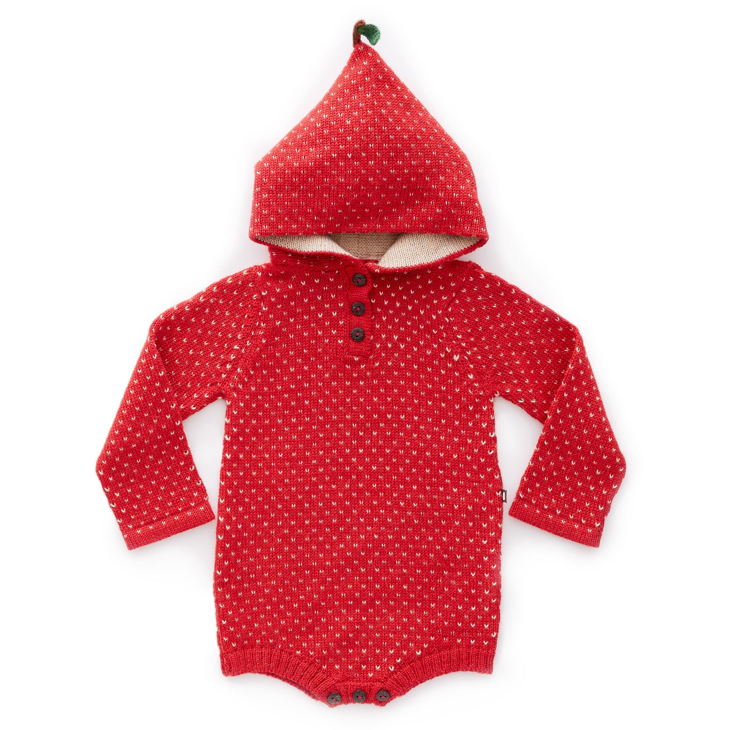 0e2ebe14b663 Oeuf Apple Hooded Onesie-Red Beige - 18M