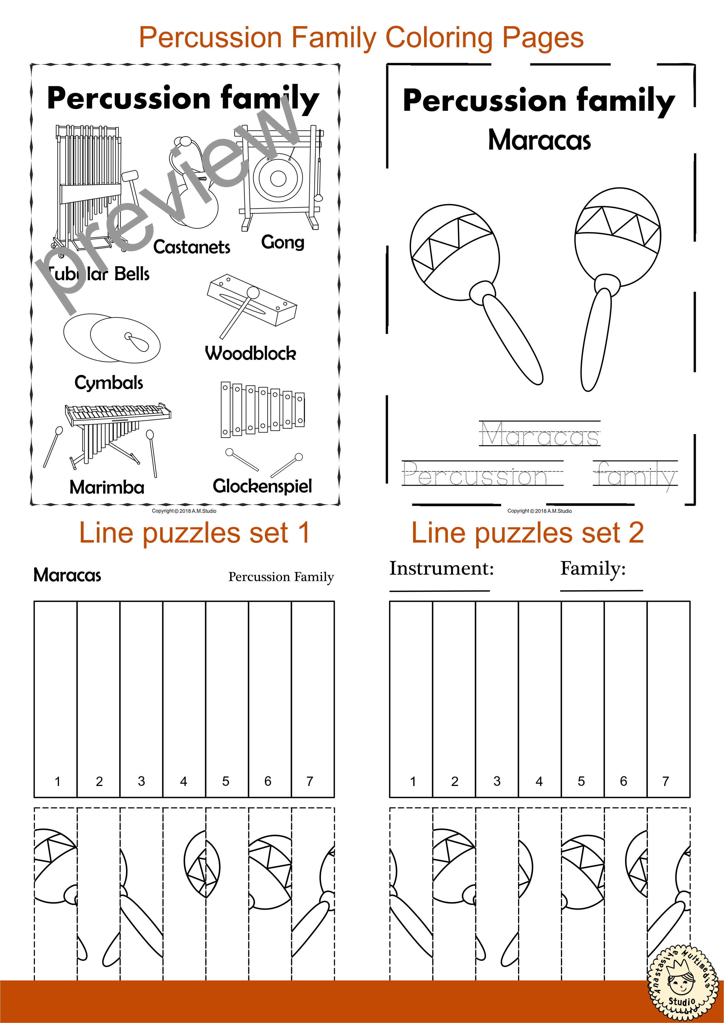 Percussion Instruments Line Puzzles in 2019 | Musical Instrument