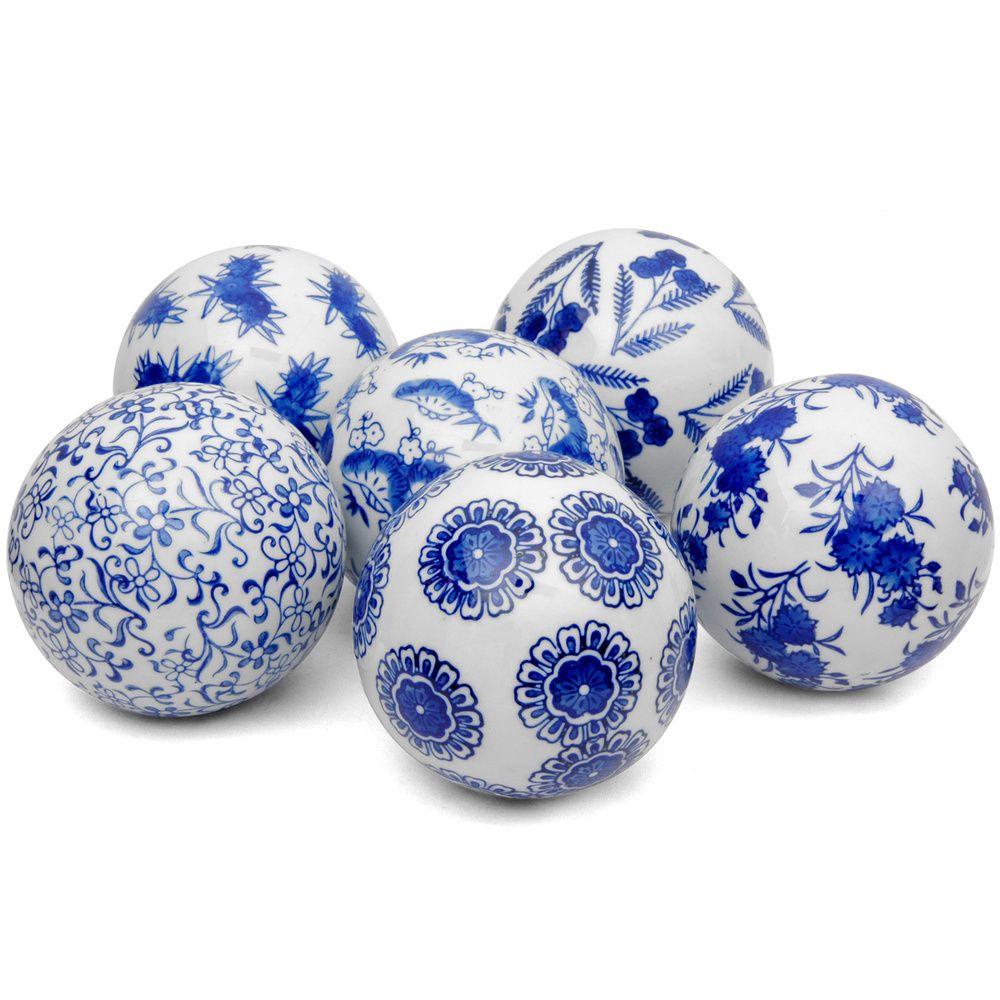handmade set of 6 blue and white decorative 4 inch. Black Bedroom Furniture Sets. Home Design Ideas