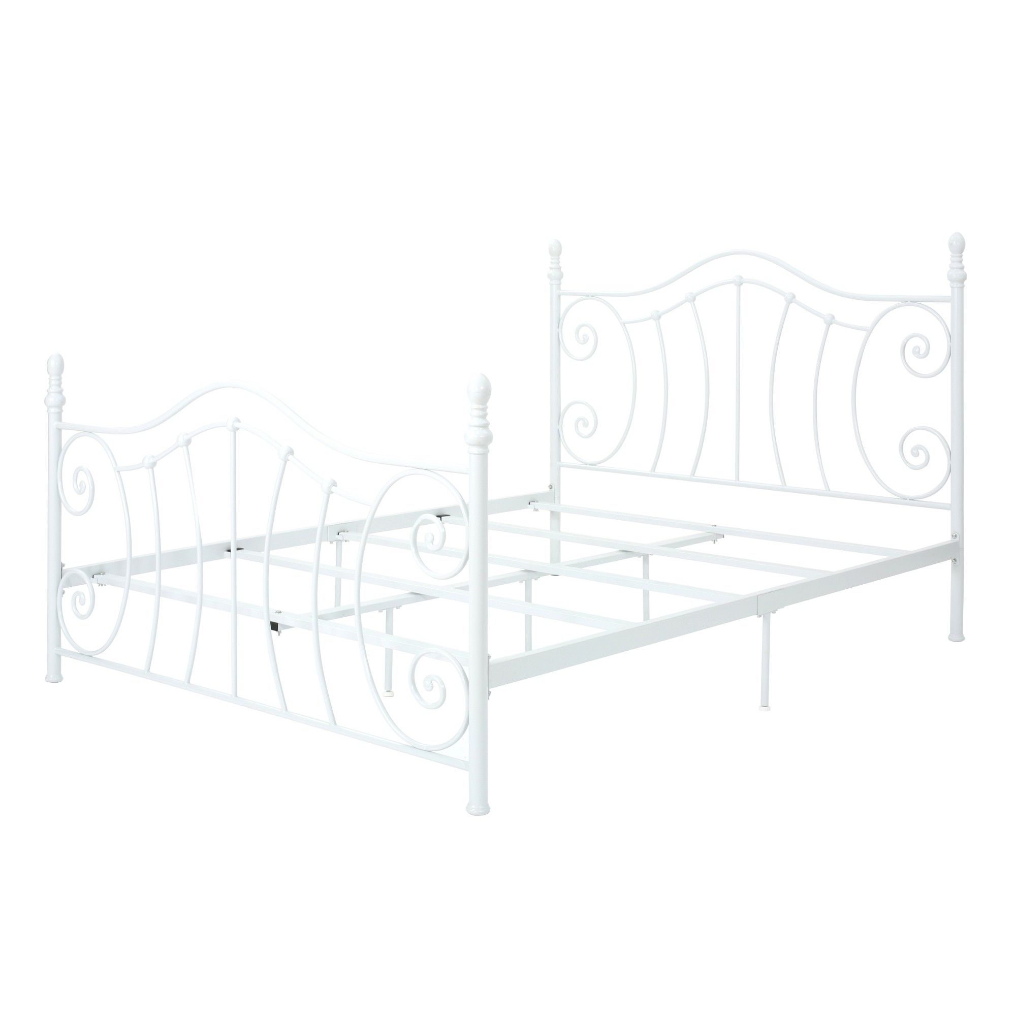 Christopher Knight Home Queen Caragh Classical Iron Bed Frame White