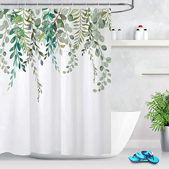 Amazon Com Lb Watercolor Green Leaves Shower Curtain Spring Botanical Plant Branch Bouquet Fl In 2020 Modern Shower Curtains Shower Curtain Decor Tree Shower