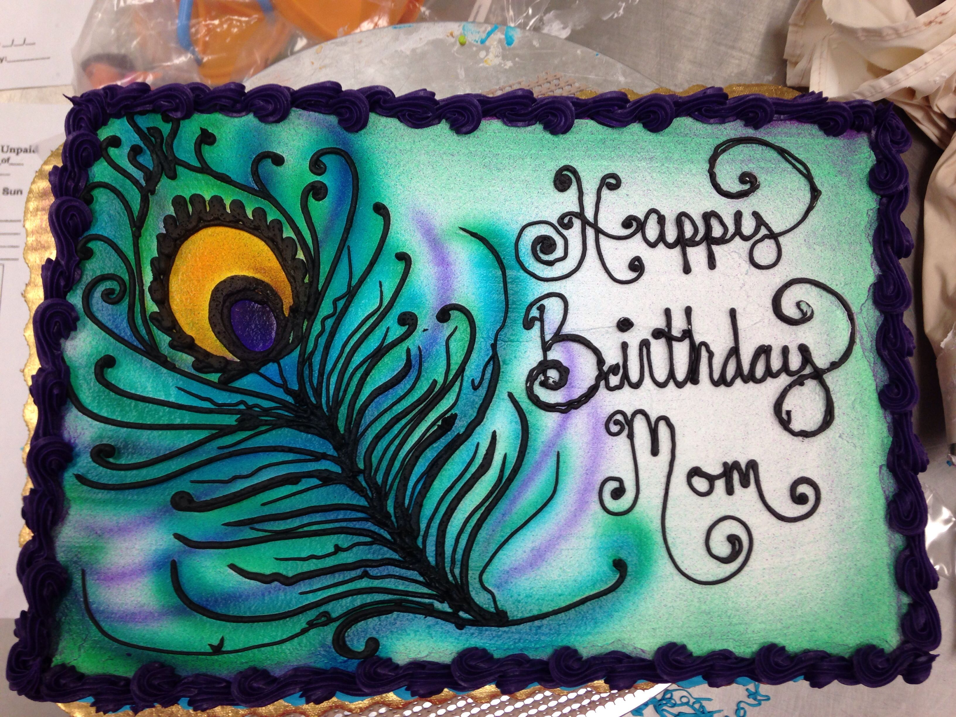 Buttercream Peacock Sheet Cake Not Your Grandmas Cakes - Peacock birthday cake