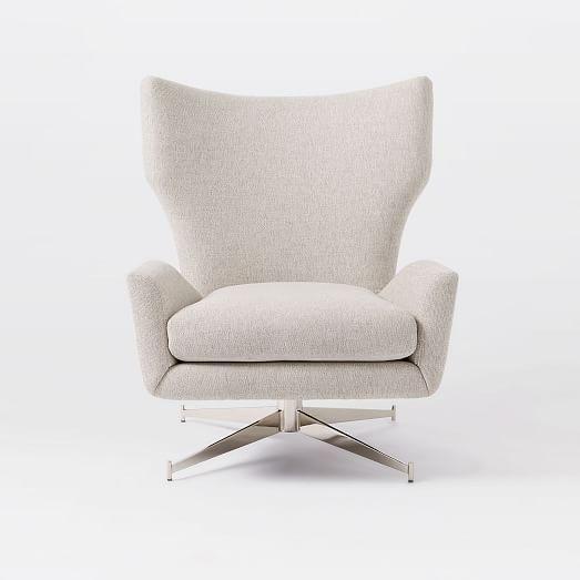 Hemming Swivel Base Arm Chair Stone Upholstered Swivel