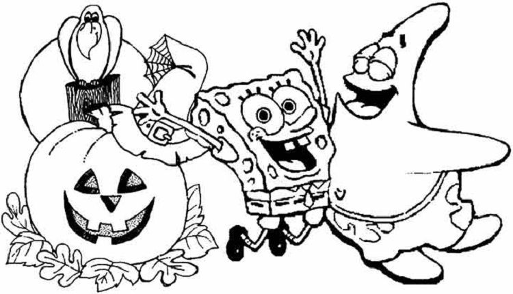 spongebob halloween coloring pages free | Coloring Pages For Kids in ...