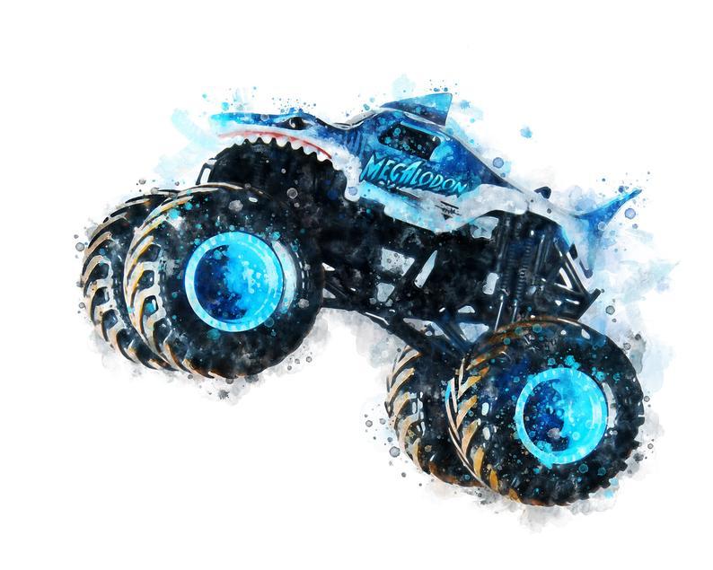 Megalodon Art Print Monster Truck Poster Watercolor Monster Etsy In 2021 Monster Truck Art Truck Art Art Prints