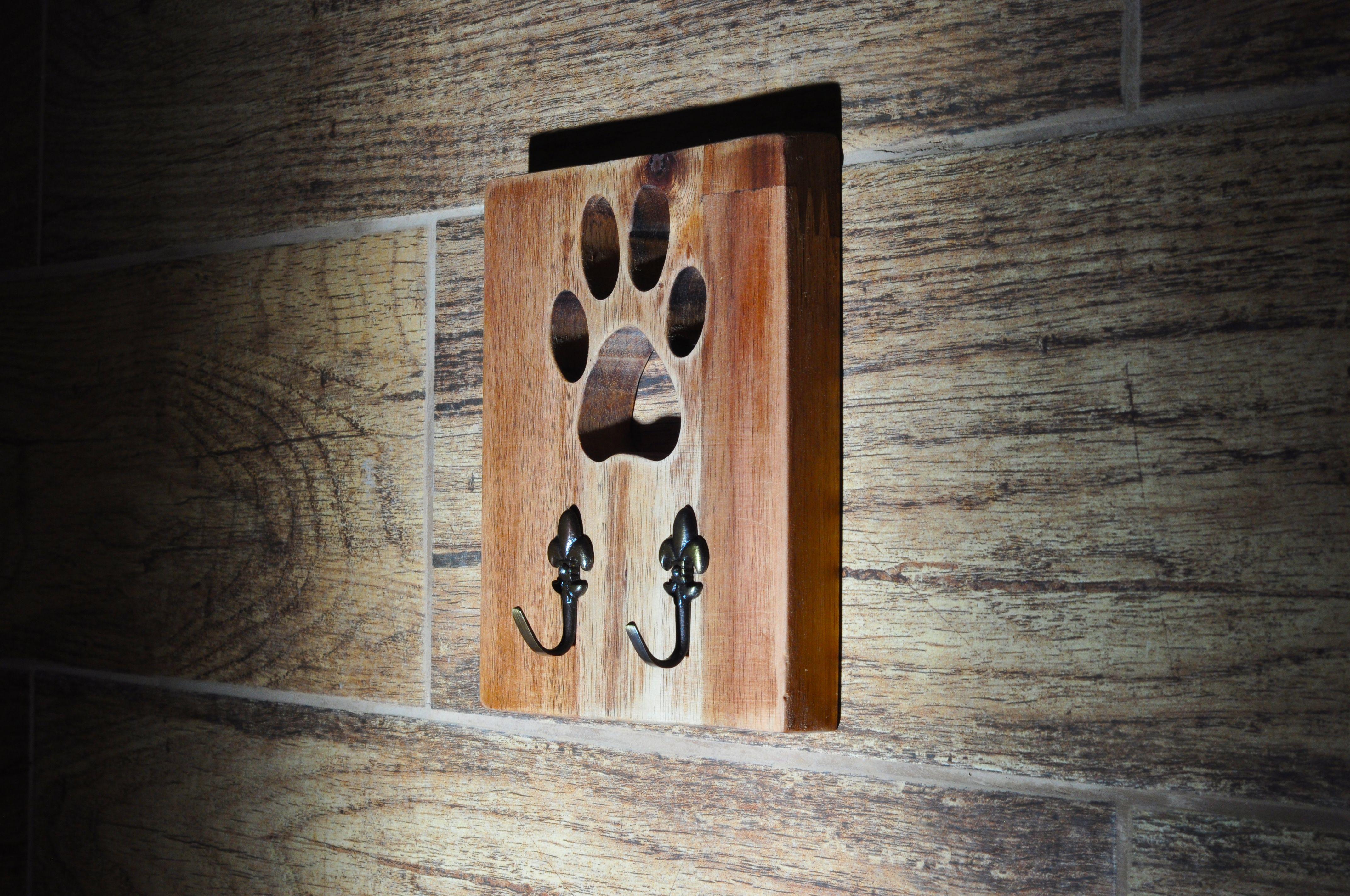 Dog leash hook-custom dog leash hook with name-wooden dog