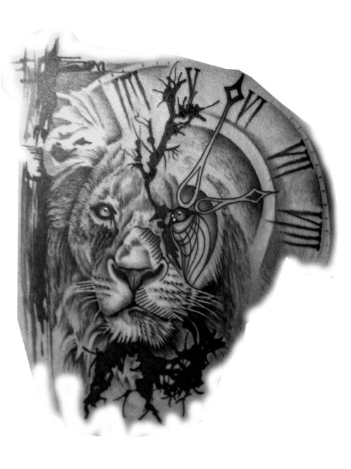 Lion And Clock Tattoo Proyectos A Intentar Tatu Tattoos Tattoo