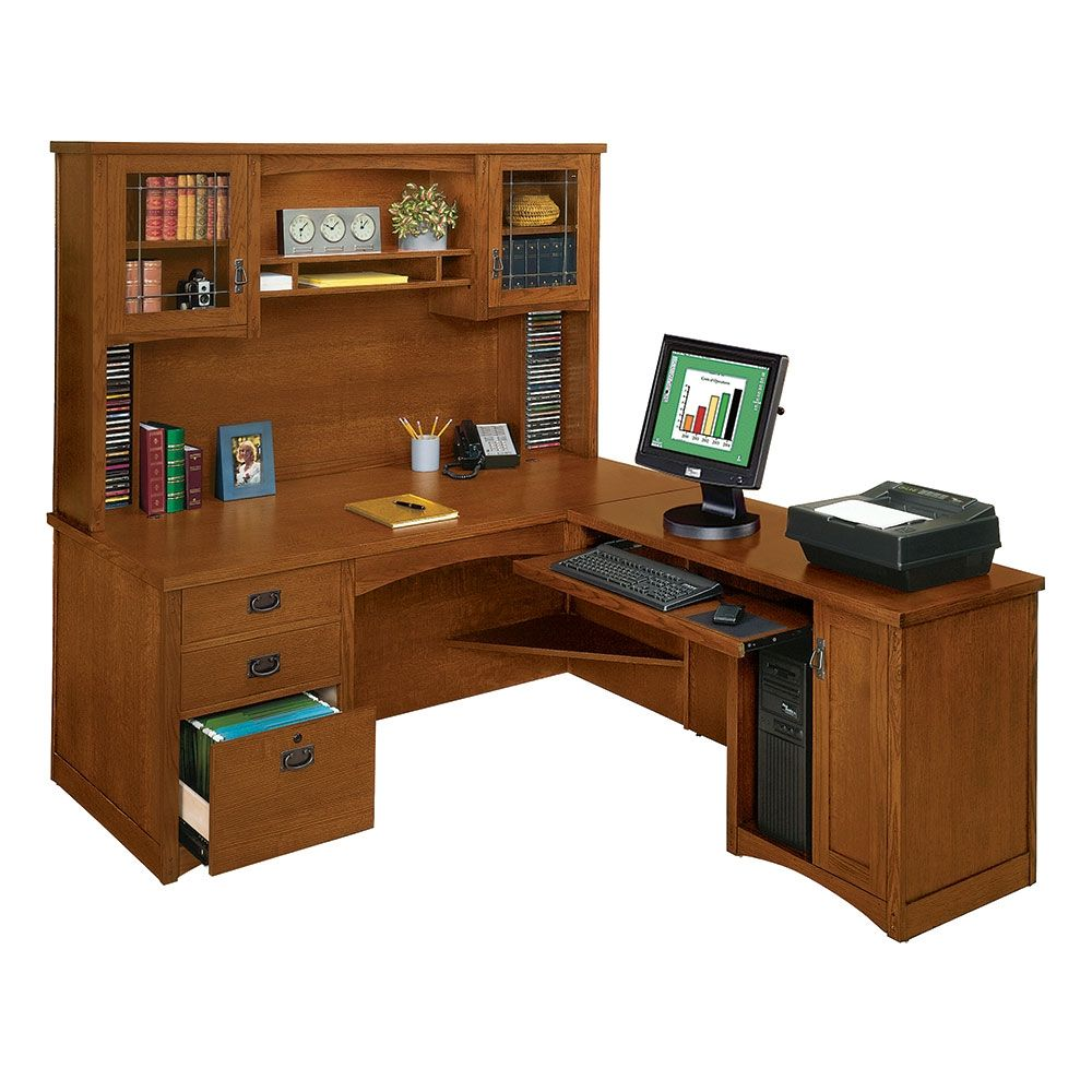 l desks for home office. Mission Oak Executive L-Desk With Right Return And Hutch L Desks For Home Office