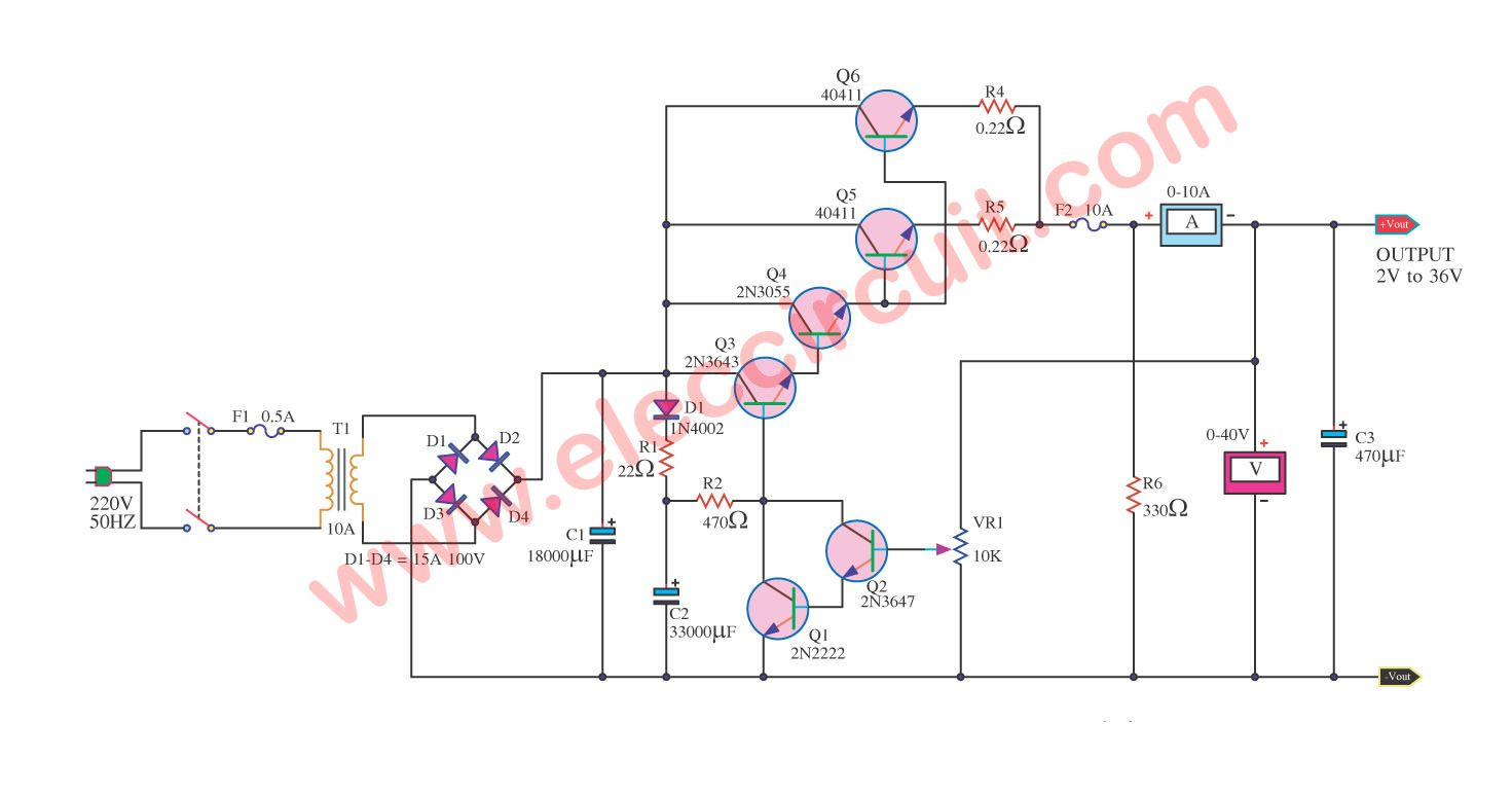 Variable Power Supply Circuit 0 50v At 3a With Pcb Eleccircuit Com Power Supply Circuit Voltage Regulator Circuit Diagram