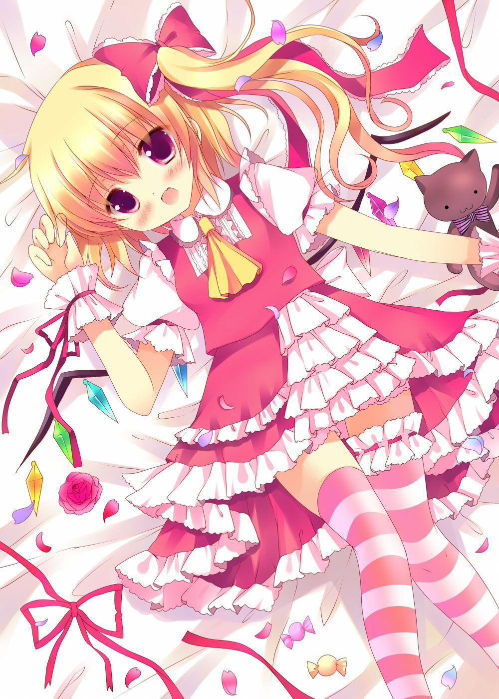 Touhou, Flandre Scarlet, animal, blush, candy, cat, lying