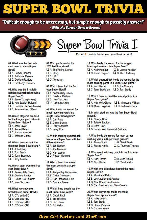 Super Bowl Trivia Multiple Choice Printable Game Super