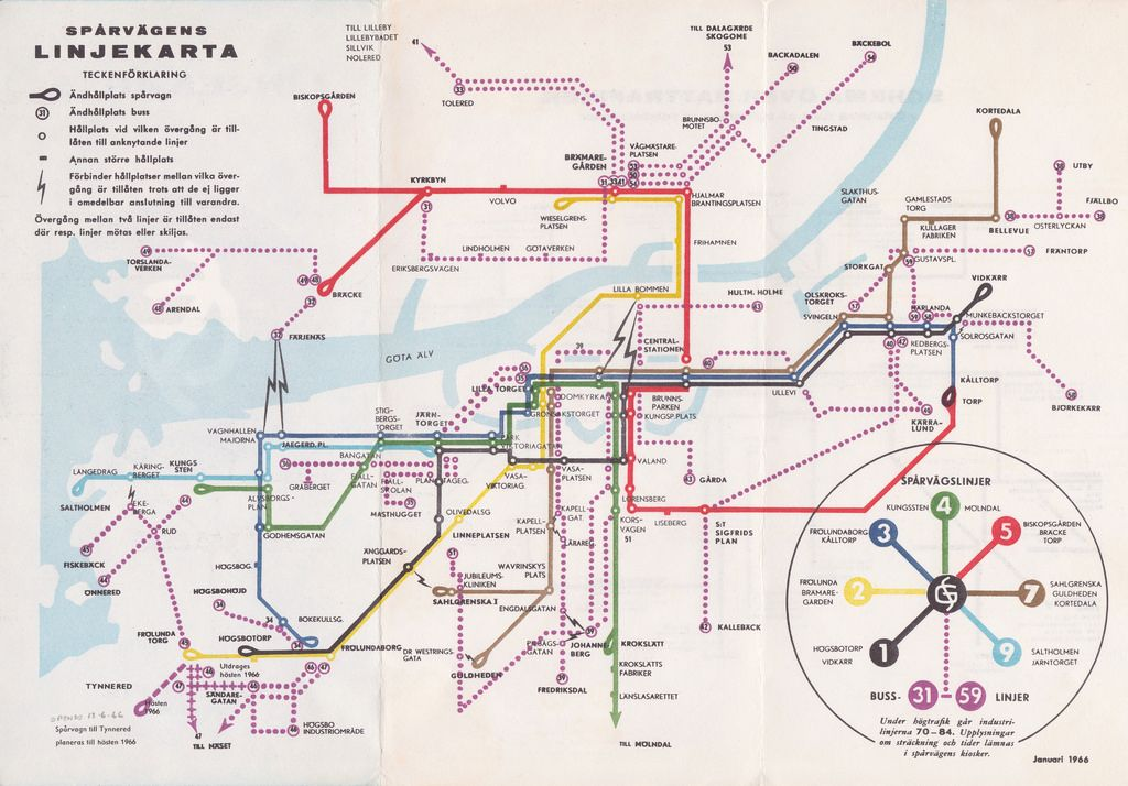 JANUARY 1966 Historical Map Gothenburg Tramways January 1966 An