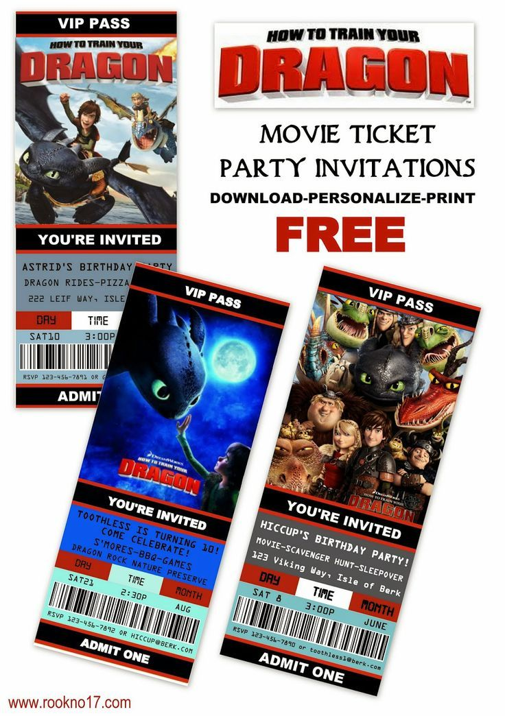 Free Printable Movie Ticket Style Invitations How to Train Your - free printable ticket style invitations