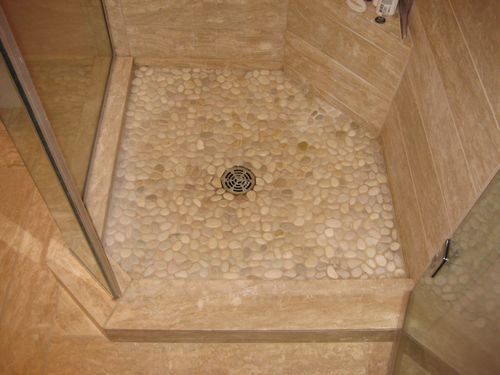 Java Tan Pebble Tile Pebble Tile Shower Tiles Rock Shower