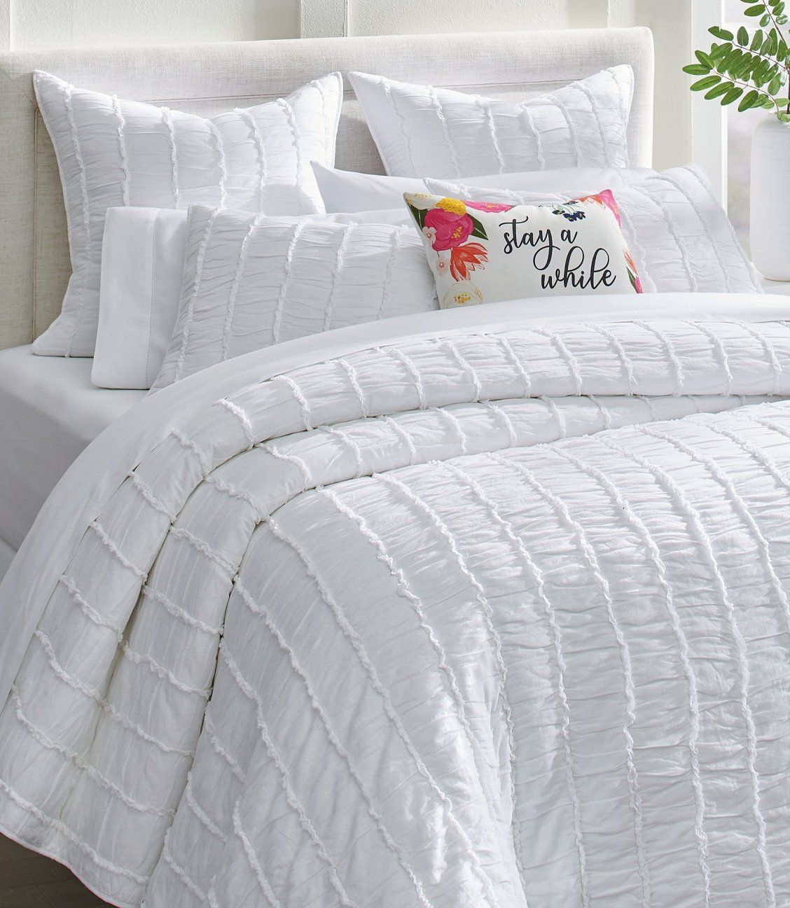 Ashlyn Ruched Cotton Quilt And Shams In 2020 Cotton Quilts