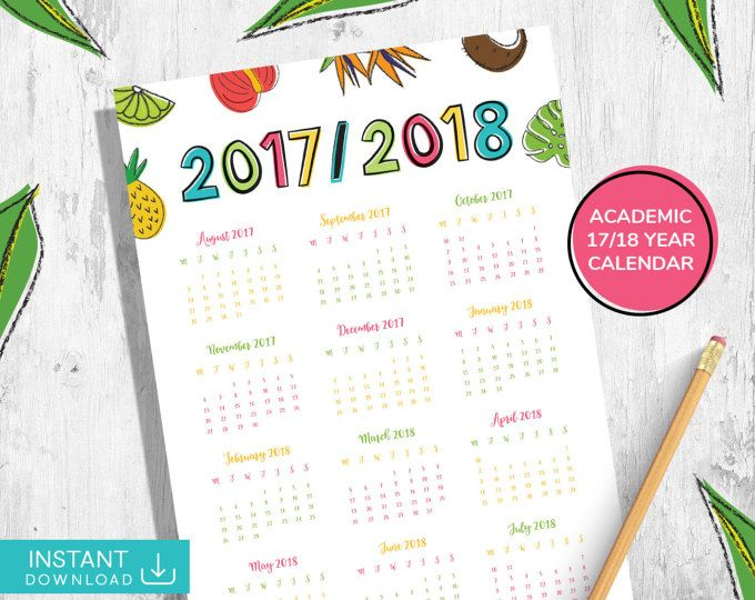 Tropical Dated Calendar, Printable Wall Calendar 2017 2018 - academic calendar templates
