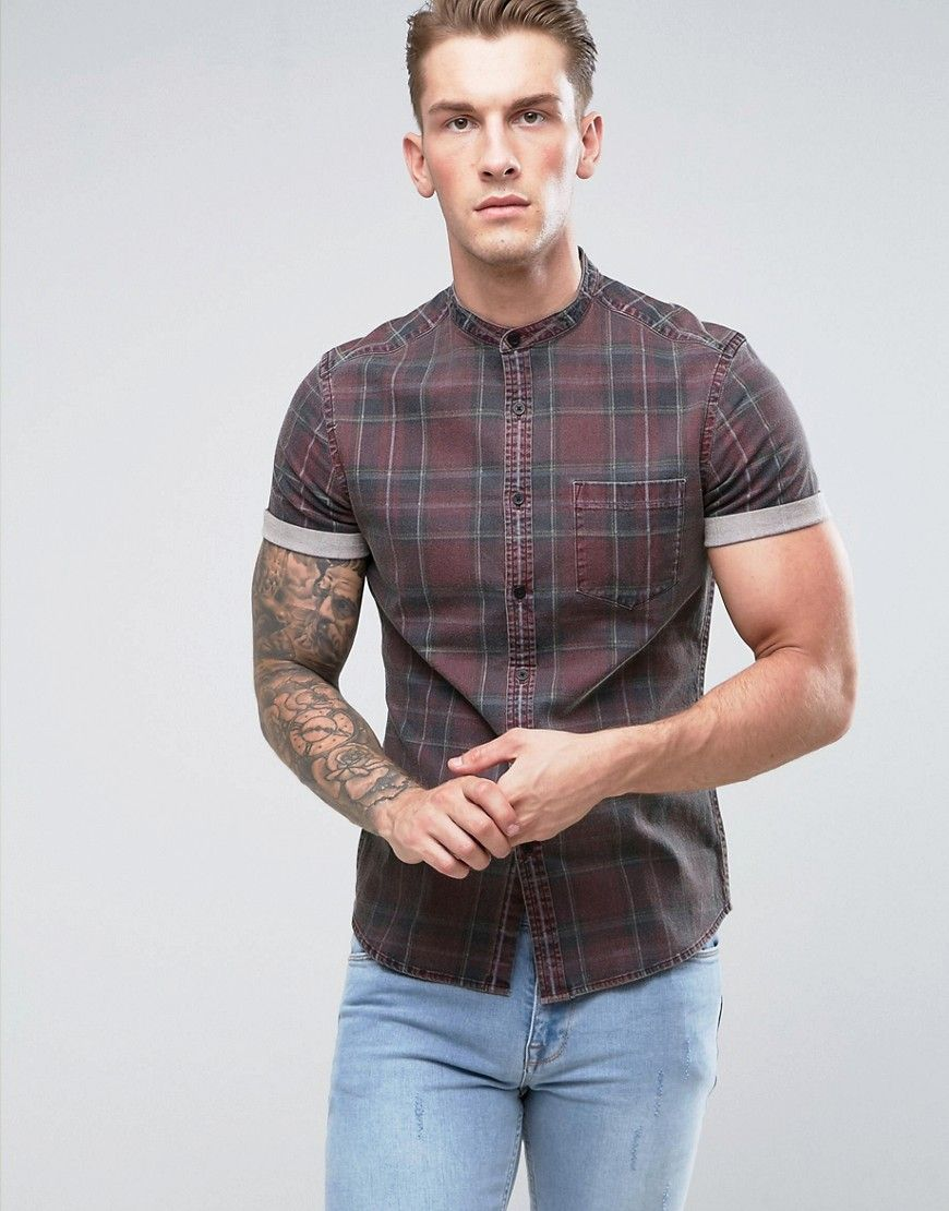 ASOS Stretch Slim Denim Check Shirt With Grandad Collar - Red
