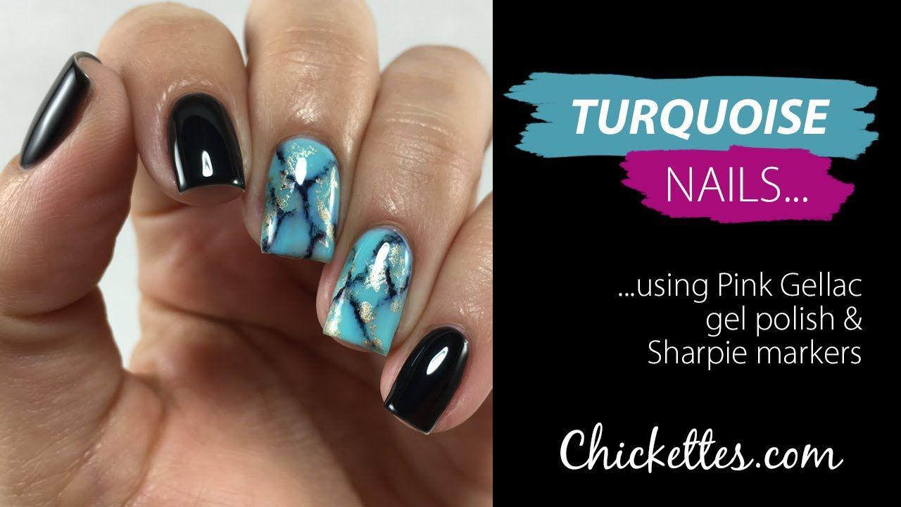 Turquoise nails using Pink Gellac gel polish & Sharpie markers | Gel ...