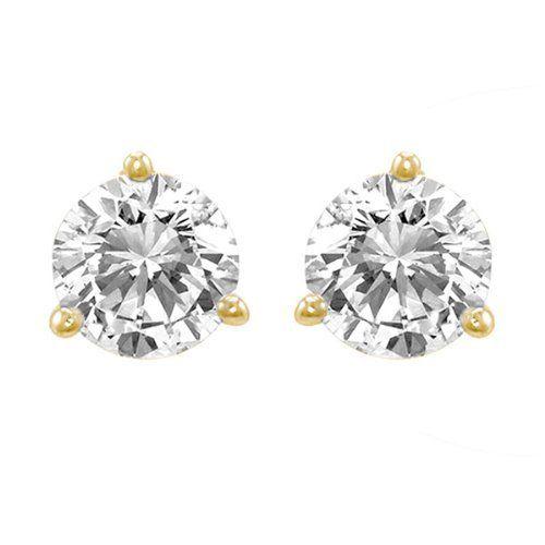 14 Carat Solitaire Diamond Stud Earrings 18k Yellow Gold Round Brilliant Shape 3 Pr Diamond Earrings Studs Diamond Earrings Studs Round Diamond Earrings Design
