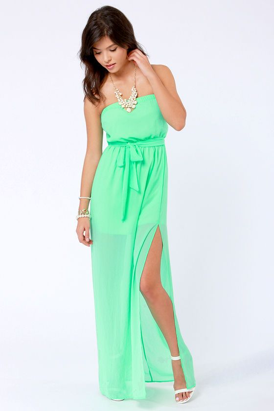Cute Maxi Dress - Spring Green Dress - Strapless Dress -  41.00 cc99b5402