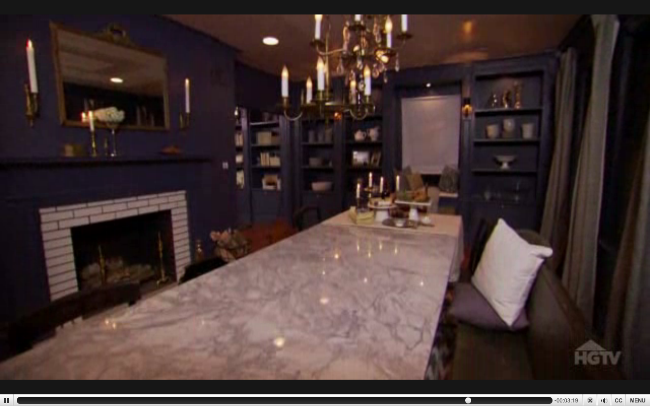 Navy Built-Ins and Stone Table from Dear Genevieve Season 4 Episode 9 Visual Cues for Room Flow