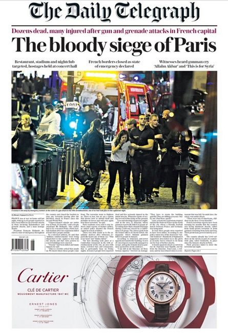 The Daily Telegraph (UK) on the Paris Attacks