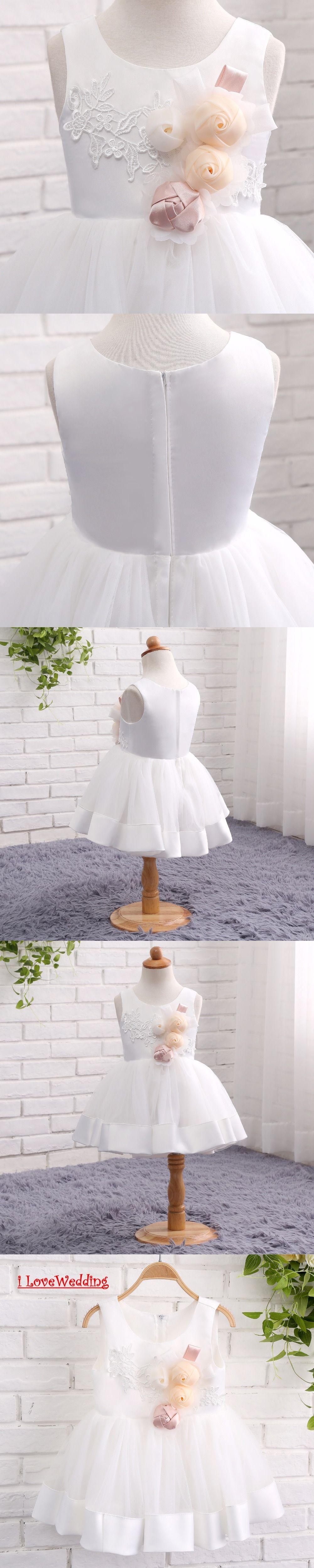 Ilovewedding stock new white flower girl dresses formal mini tulle