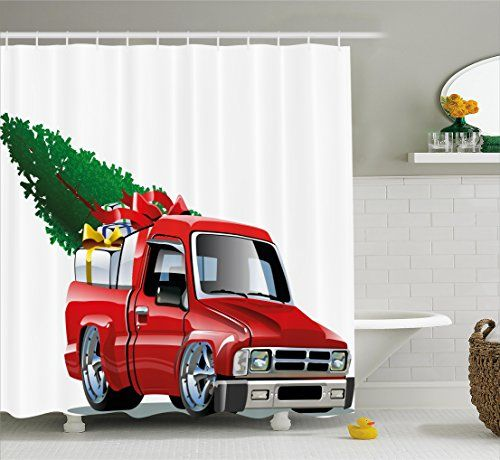 Christmas Shower Curtain Set By Ambesonne Red Pickup Truck