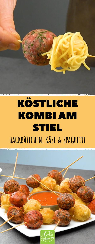 Hackbällchen & Spaghetti am Stiel