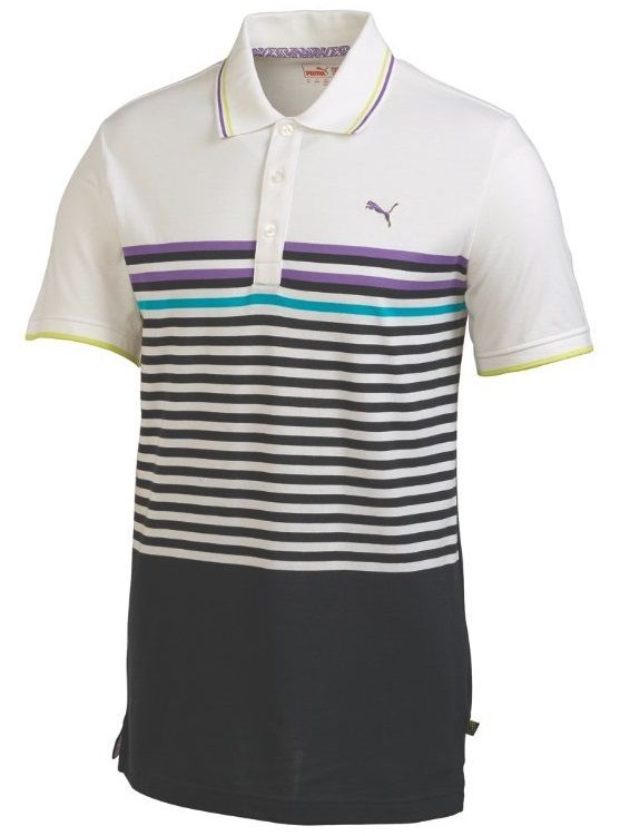 6ca66082f040 This comfortable mens NA CB stripe golf polo shirt by Puma features Dri  release fabrication that helps draw moisture away from the skin and  FreshGuard to ...