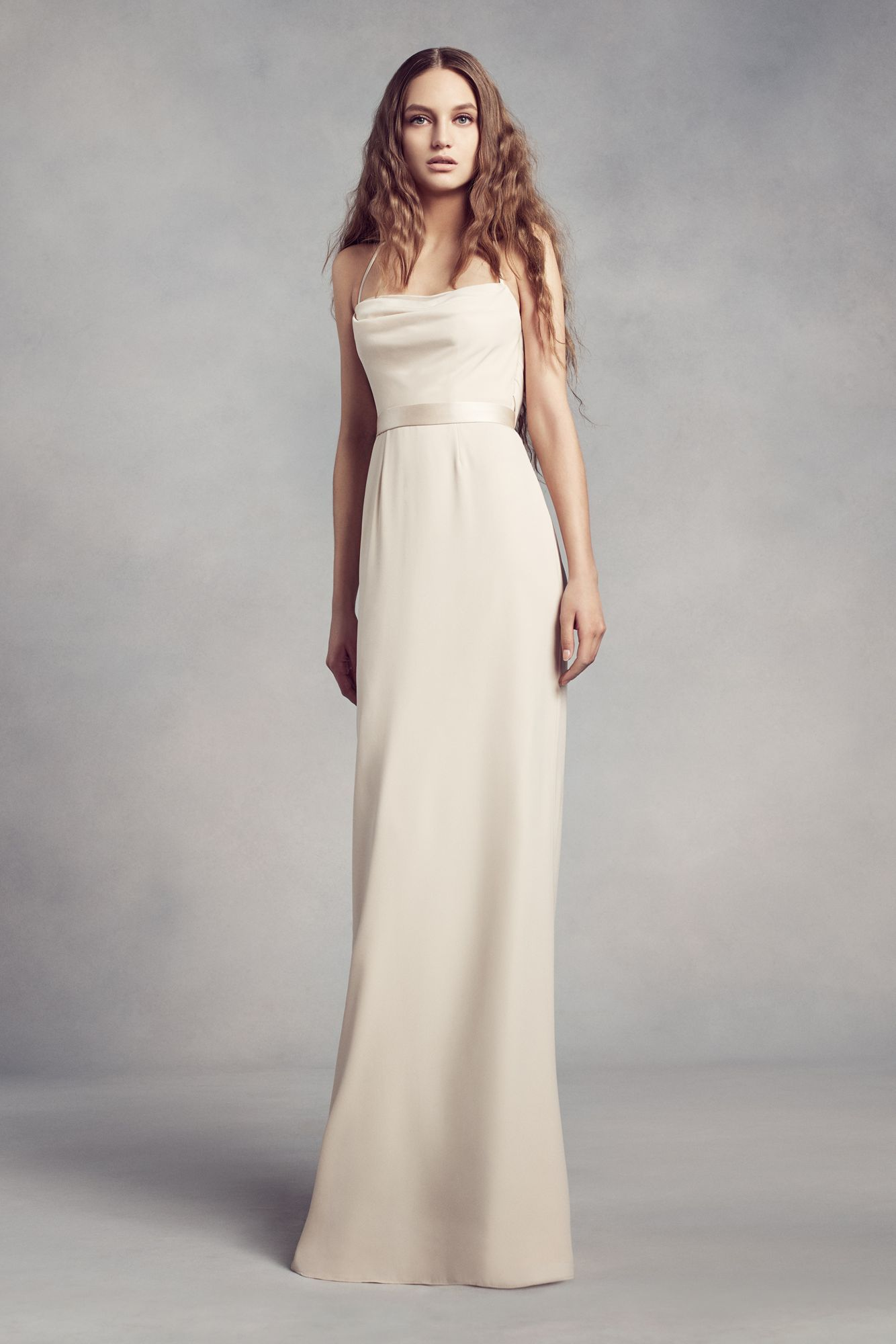 Spaghetti staps long illusion cowlback bridesmaid gowns style