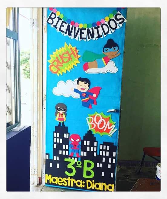 Puerta decorada de bienvenidos tabloides pinterest for Puertas decoradas para regreso a clases