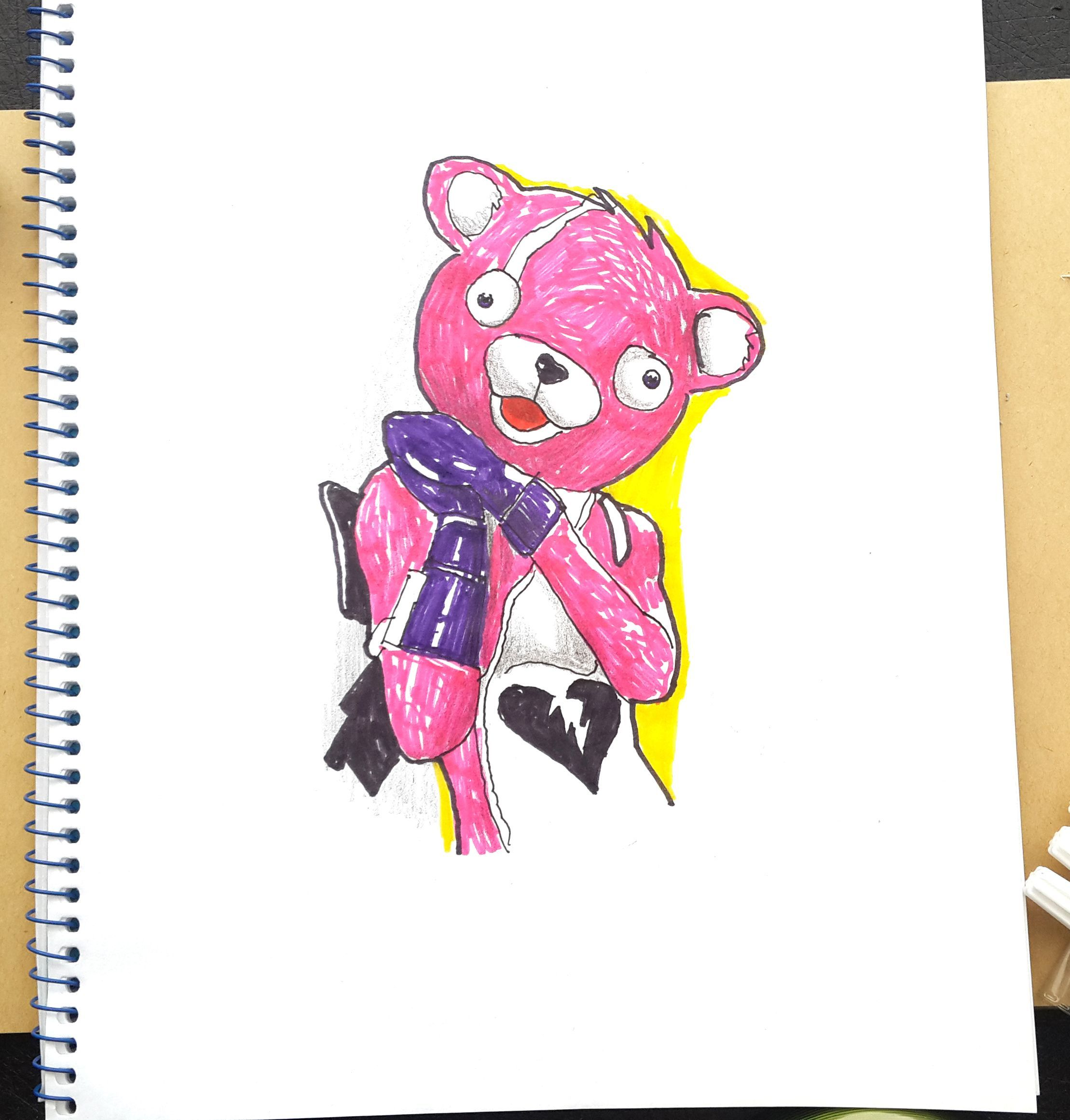 Pink bear fortnite how to draw cuddle team leader battle royal step by step easy hd fortnite character how to draw art tutorial draw eskiz