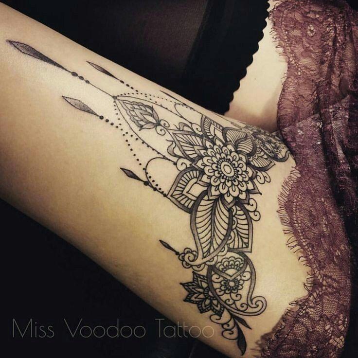 Thigh tattoo miss voodoo tattoo
