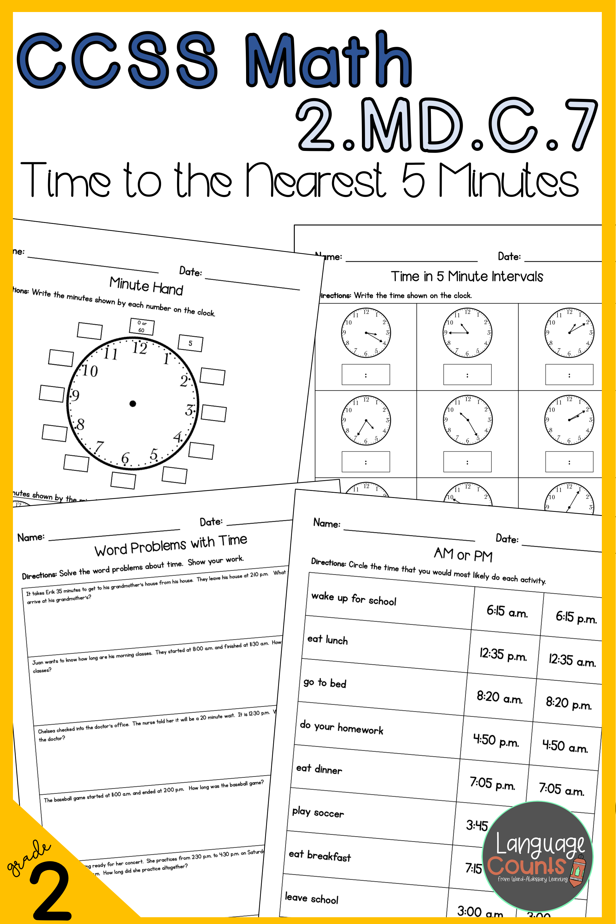 2nd Grade Time To Five Minutes No Prep Practice Worksheets