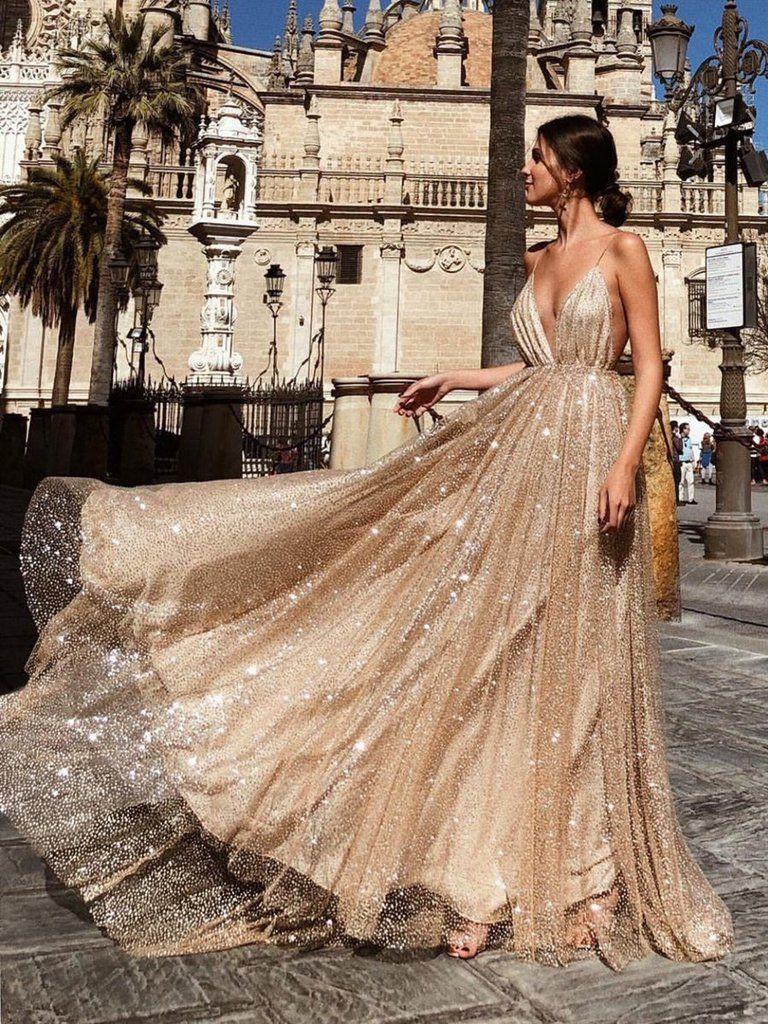 A line v neck backless champagne long sparkling prom dresses