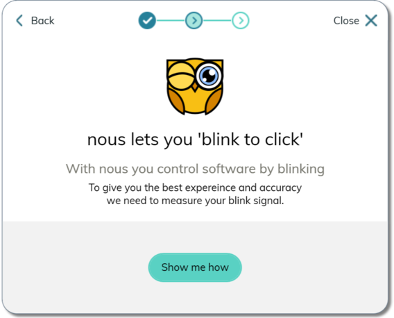 nous™ blink to click is a switch access method for that