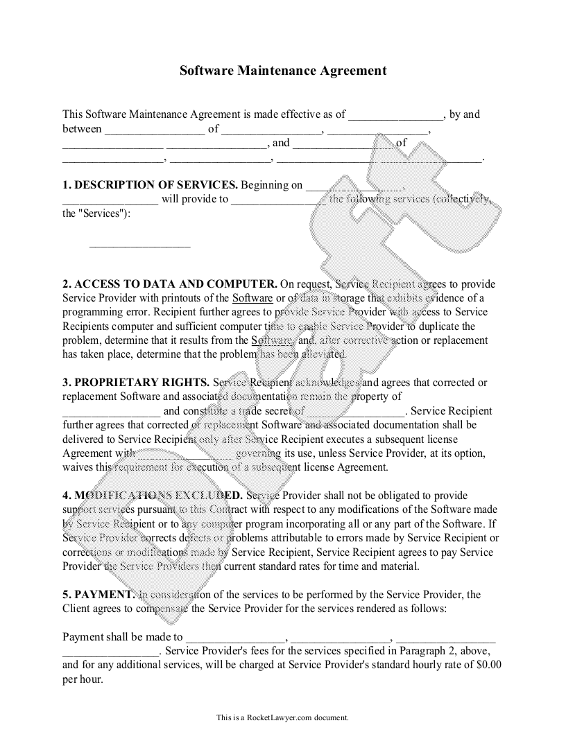 software maintenance agreement template (with sample) - software