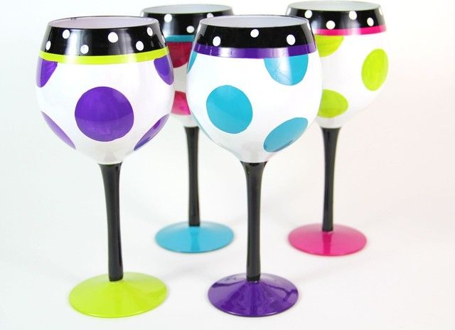 POLKA DOTS Painted Wine Glasses Pinterest