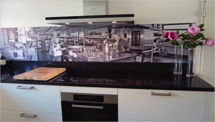 Originele keuken met spatwand foto paneel interieur keuken