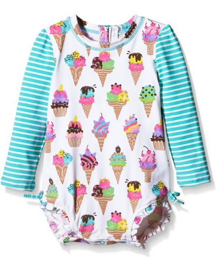 Hatley Baby Girls' Ice Cream Rash Guard. Adorable print, back zipper, snap crotch and UPF 50 sun protection.