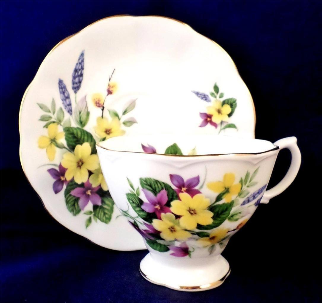 Vintage China Royal Albert Tea Cup Saucer Primulette Floral Primula Malvern   eBay