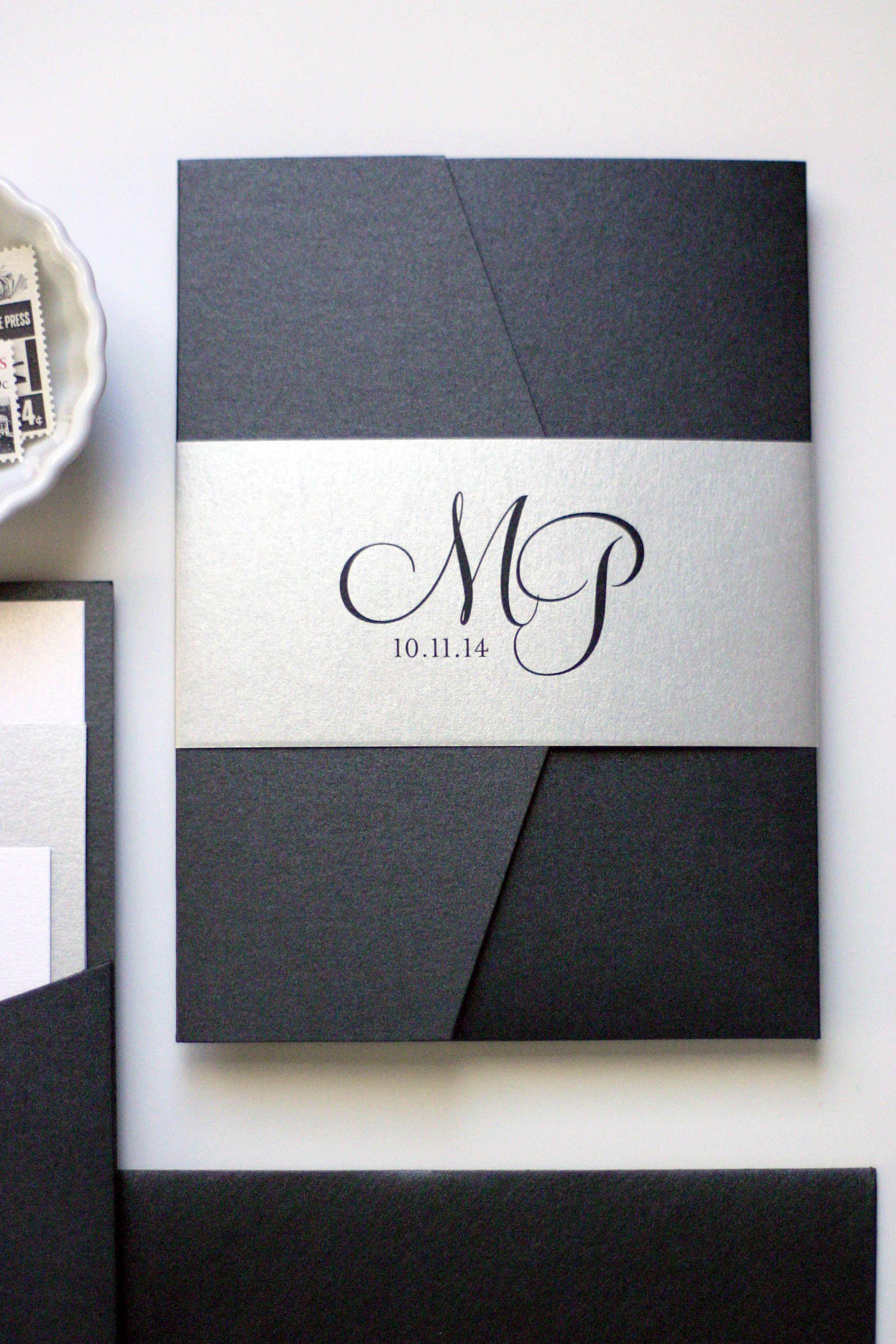 Black and Silver Wedding Invitations   Pocket invitation, Belly ...