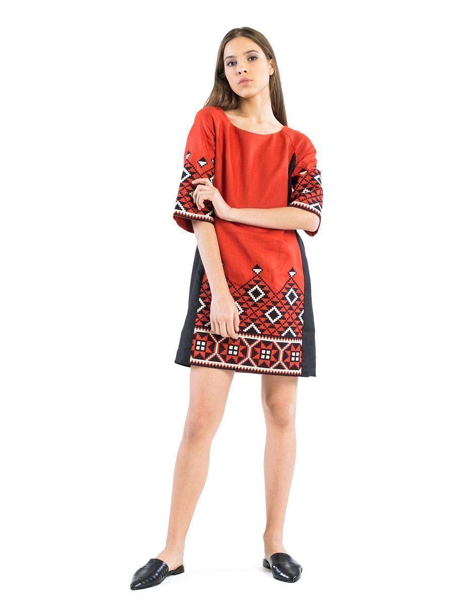 e6a337191b6e39 Теракотова лляна сукня з геометричною вишивкою ETHNO2 | вибір ...